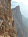 Standesgemäße letzte Klettermeter - Querung durch einen frischen Ausbruck