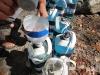 Abfüllen Gatorade in perfekt vorbereiteten Gallonen-Flaschen