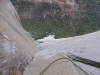 Blick hinunter zum guten Biwakplatz am Stand 26 - hier beginnt die riesige Verschneidung