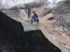 Da Lacht Matthias - frei baumelnd mit 1000 Meter Luft unter ihm - Haulen von Stand 30 zu 32
