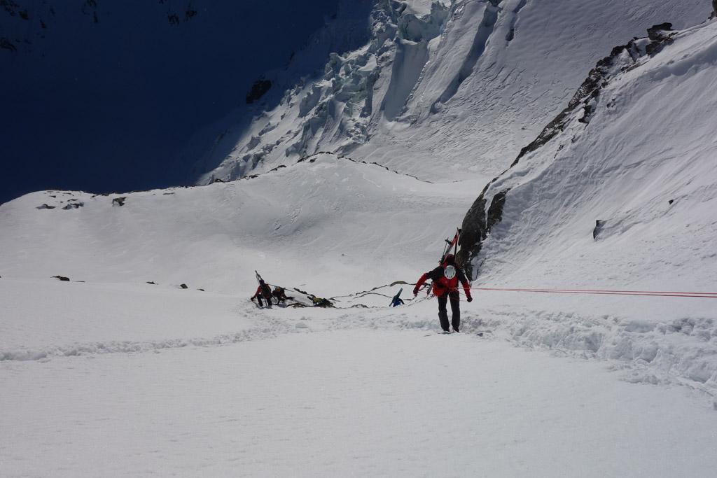 Abseilen auf der Ostseite vom Col de la Gouille
