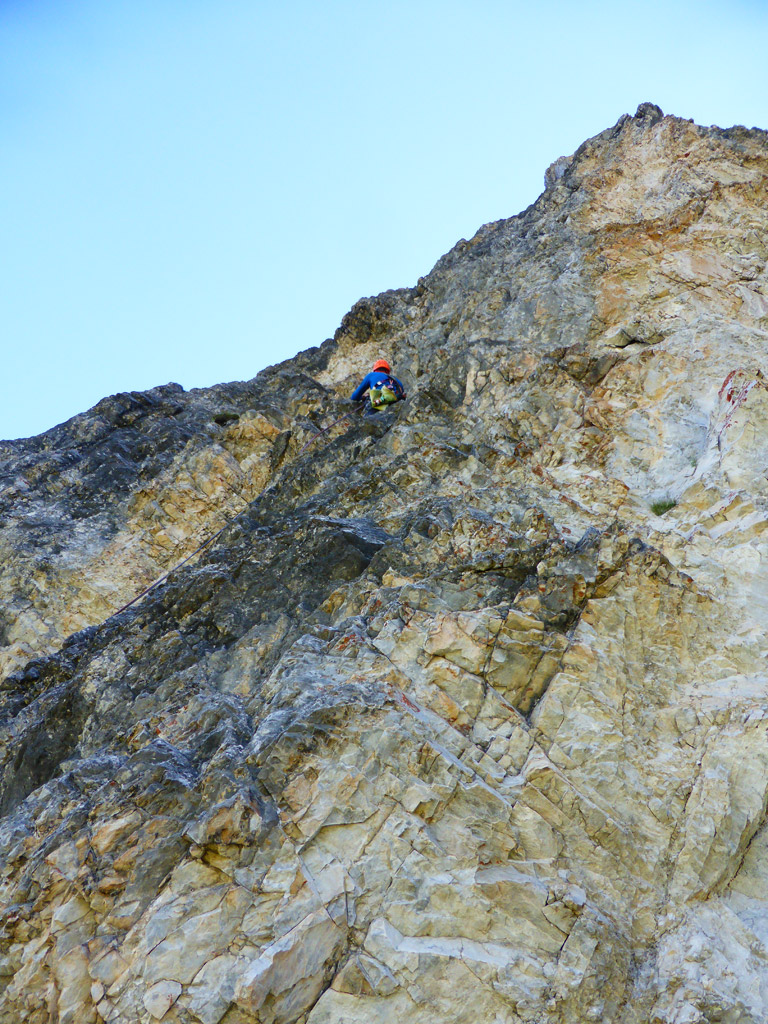 SL 4 - die Route schlängelt sich durch den leichtesten Teil der Wand