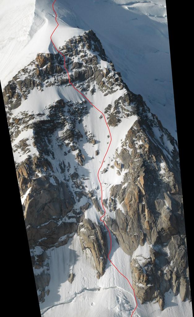 Übersicht der von uns gekletterten Linie am Triangle du Tacul