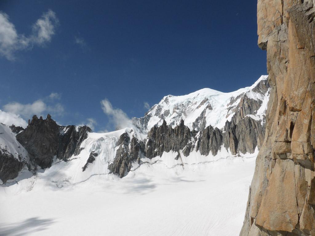 Blick zum Col de la Fourche und dahinter Mont Blanc