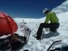 Zelt abspannen am Gletscher