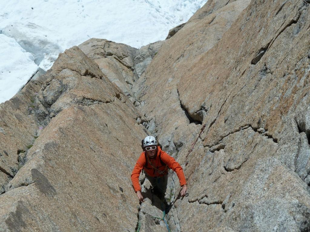 Aguille du Midi Südwand - Benni in der Kohlmann