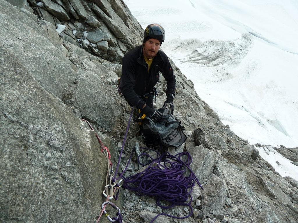 Chris am Beginn der Mont Dolent W-Wand