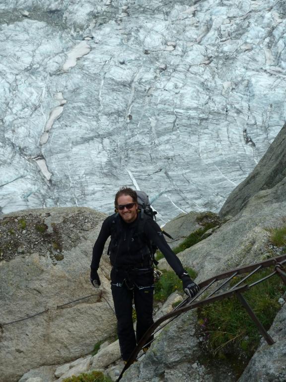 Chris im Kletterstei zwischen Ref. Requin und Mer de Glace