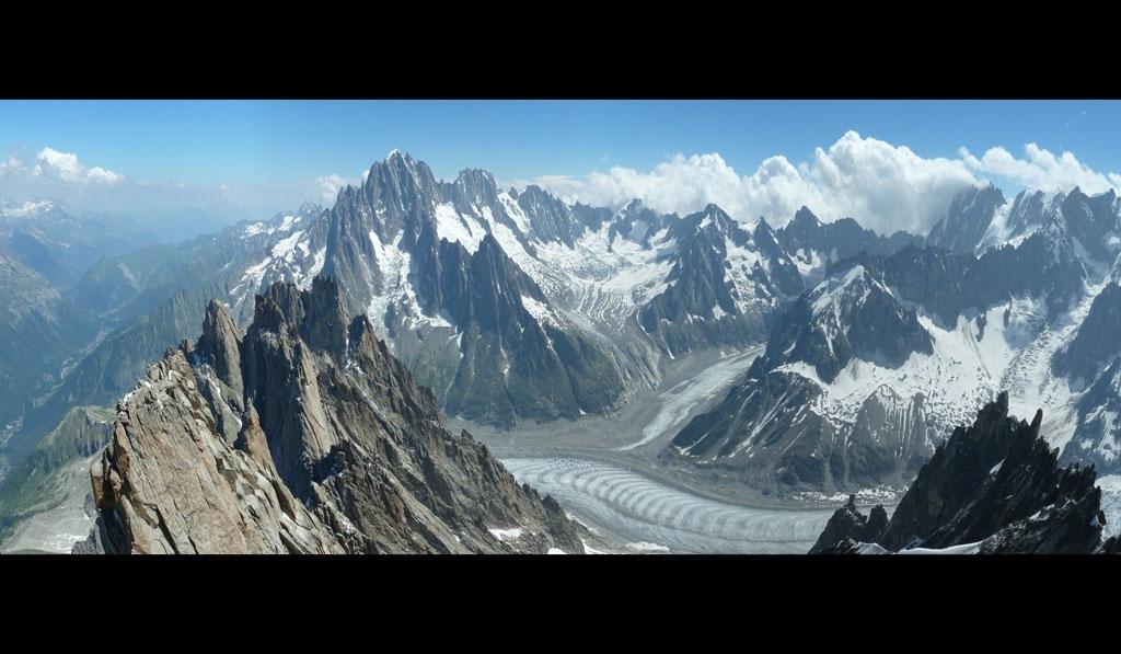Blick von der Plan zur Aig. Vert und Leschaux Gletscher