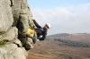 Eine der schönsten Routen des Trips: Kelly's Overhang HVS 5b - Stanage